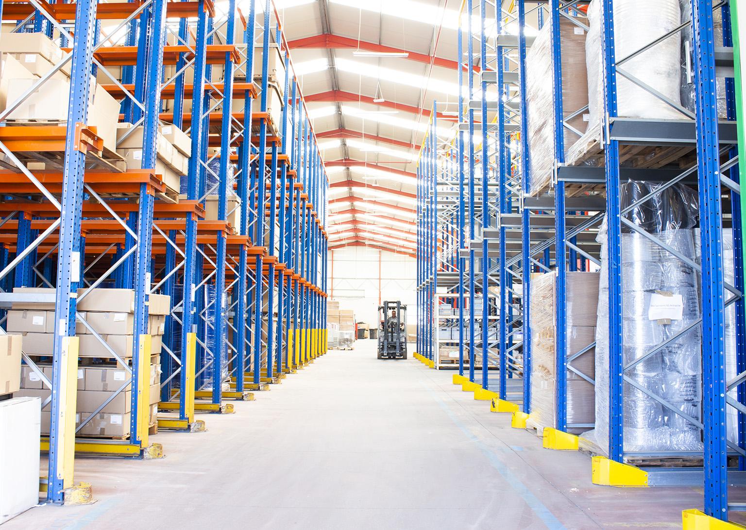 Plastics warehouse depth view at MOLDIT Industries